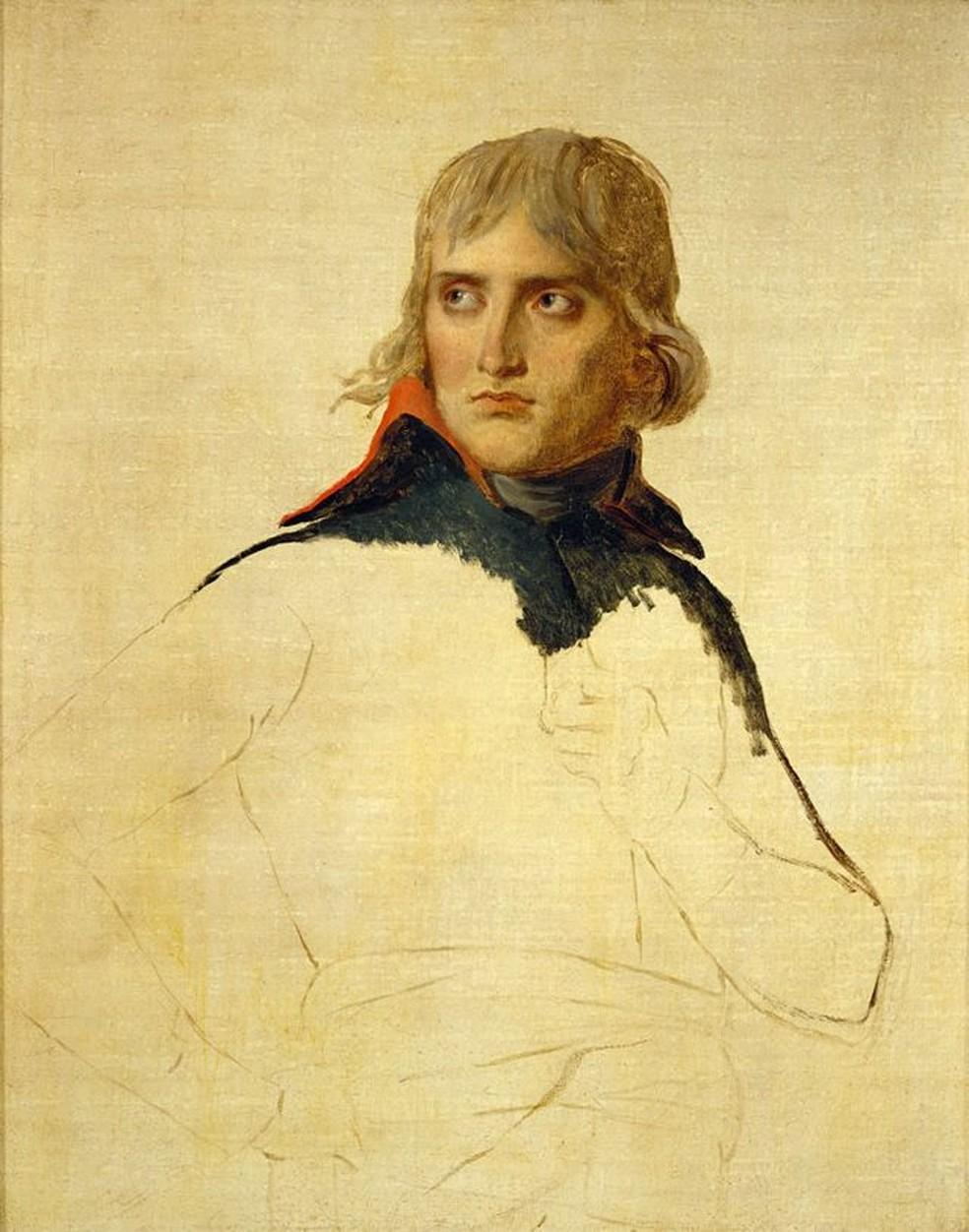 Retrato inacabado de Napoleão feito por Jacques-Louis David — Foto: Getty Images/BBC