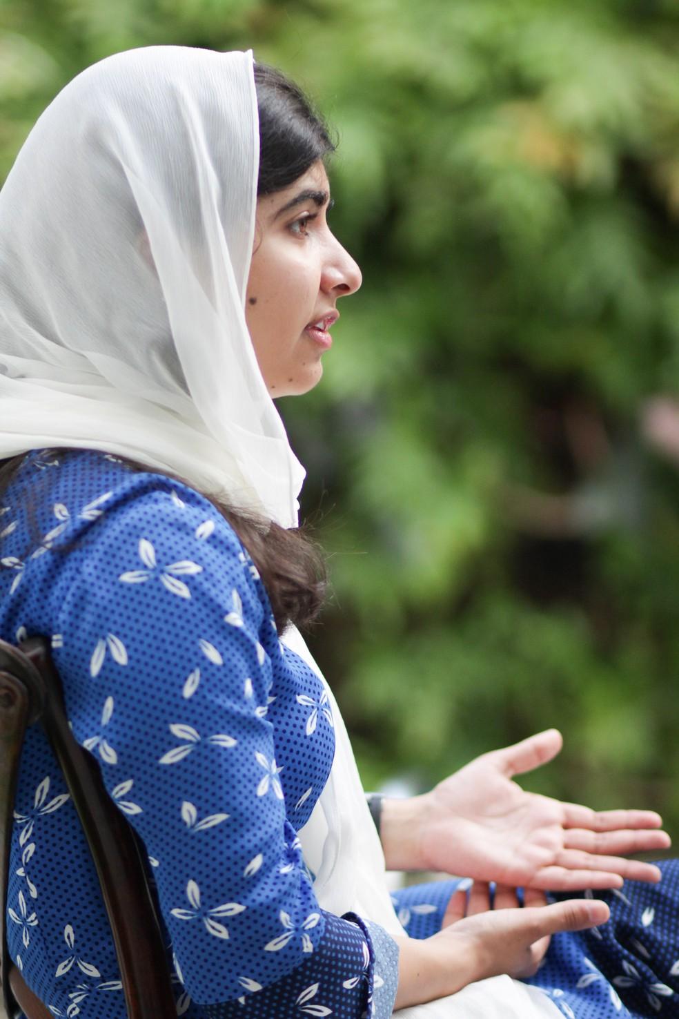 Malala Yousafzai dá entrevista em Salvador (Foto: Egi Santana/G1)