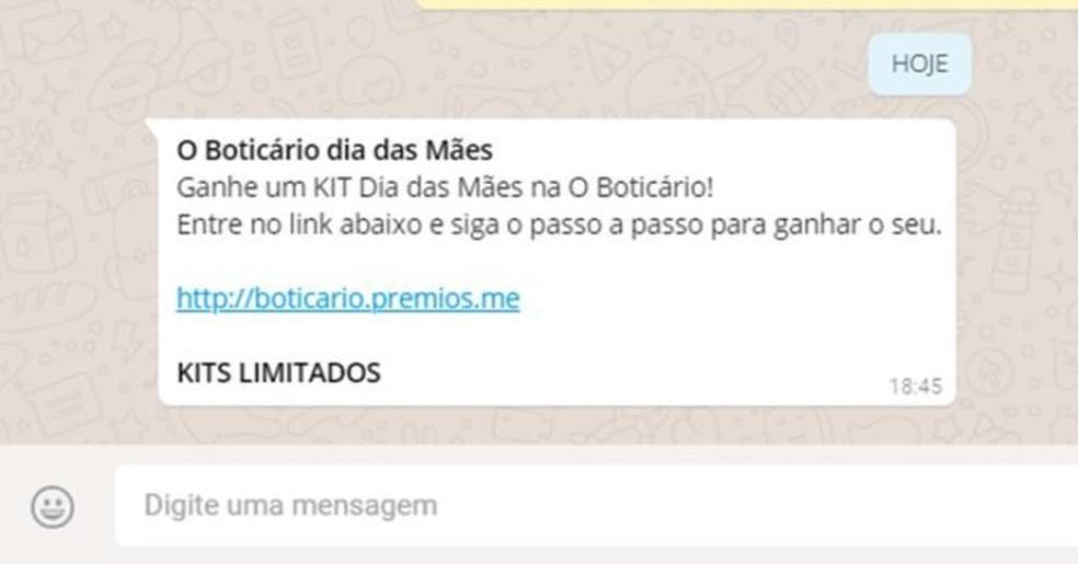 Golpe usa marca falsa promoção d'O Boticário de Dia das Mães para roubar dados de vítimas. (Foto: Divulgação)