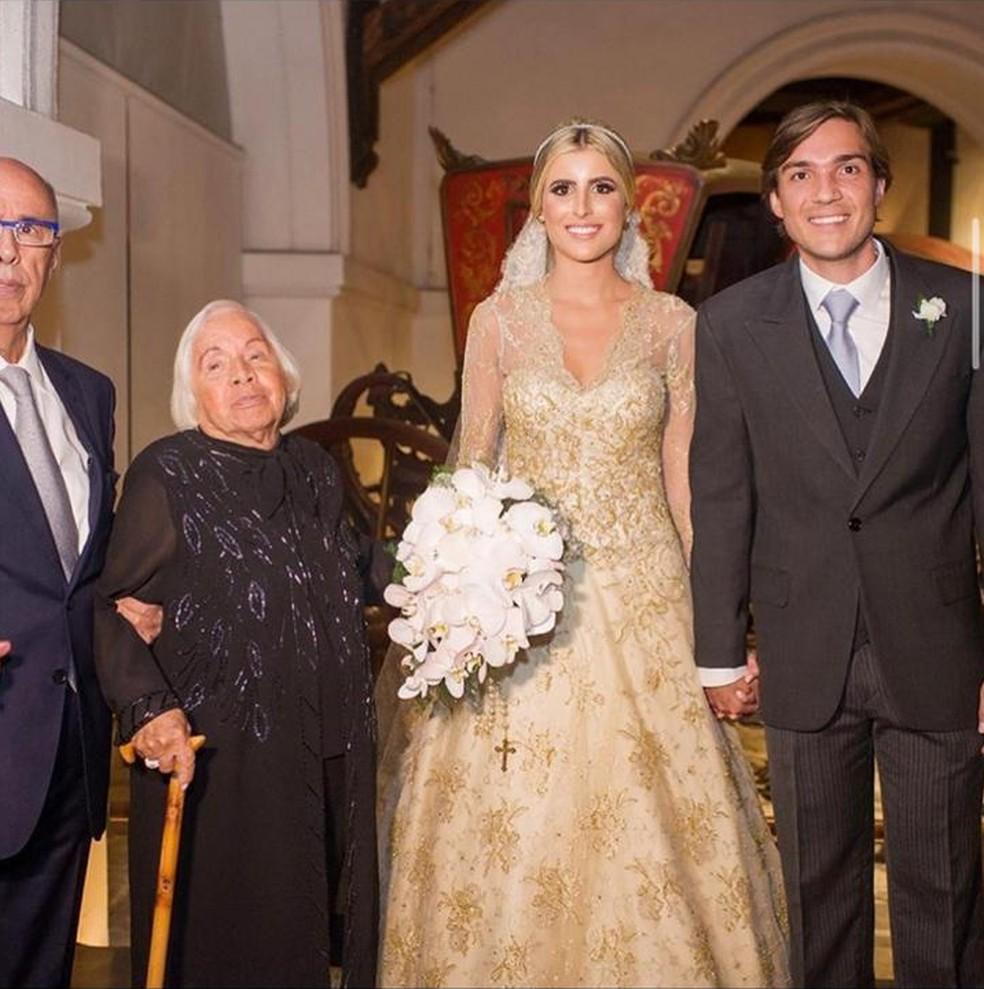 Dona Florinda Barbosa no casamento da neta — Foto: Reprodução