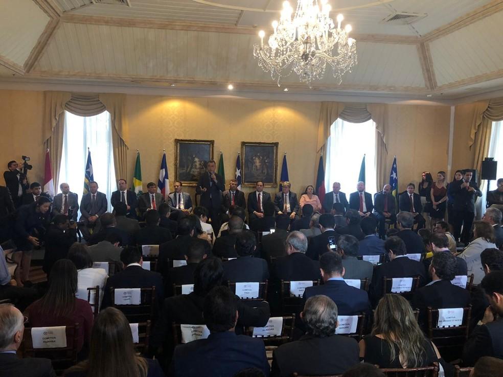 Governador da Bahia, Rui Costa (PT) faz discurso durante Fórum dos Governadores do Nordeste, em São Luís. — Foto: César Hipólito/TV Mirante