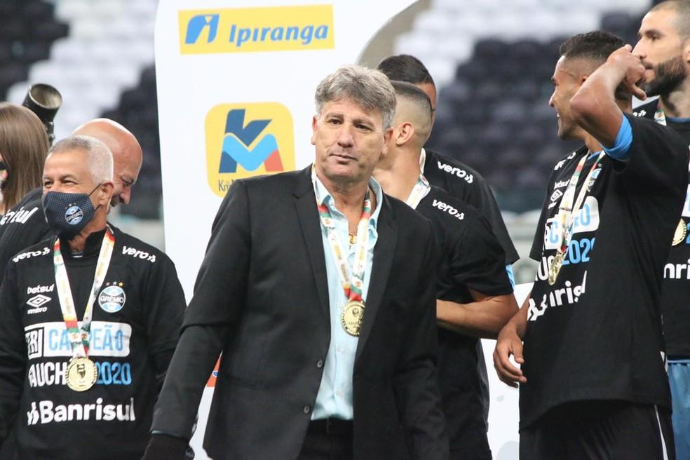 Renato Gaúcho Portaluppi campeão gaúcho pelo Grêmio — Foto: Eduardo Moura/ge