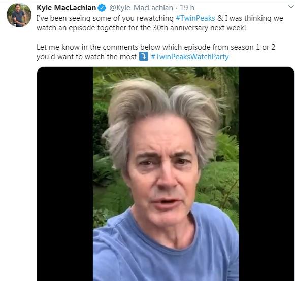 Postagem feita pelo ator Kyle MacLachlan (Foto: Reprodução/ Twitter)