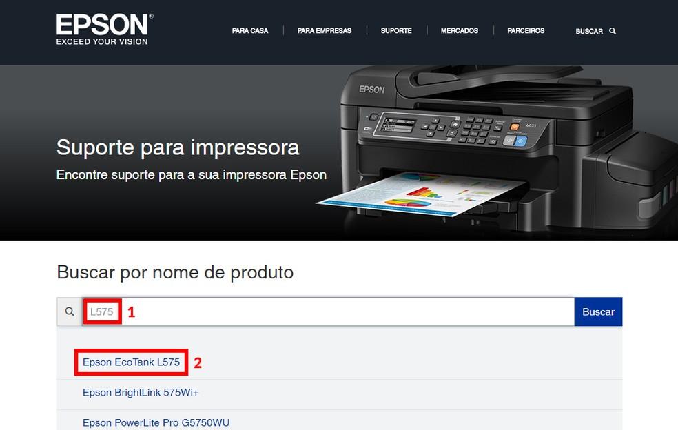 Digite o modelo da impressora para baixar o driver oficial (Foto: Reprodução/Thiago Rocha)