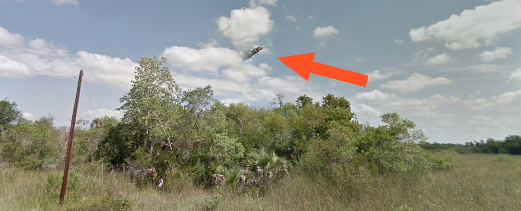 Seta indica o corpo voador misterioso  (Foto: Google Street View)