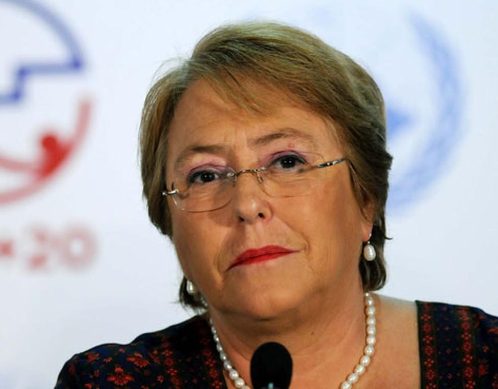 A direitora da ONU Mulheres  e ex-presidente chinela, Michelle Bachelet em entrevista coletiva no Riocentro, nesta segunda (18) (Foto: Alexandre Durão/G1)