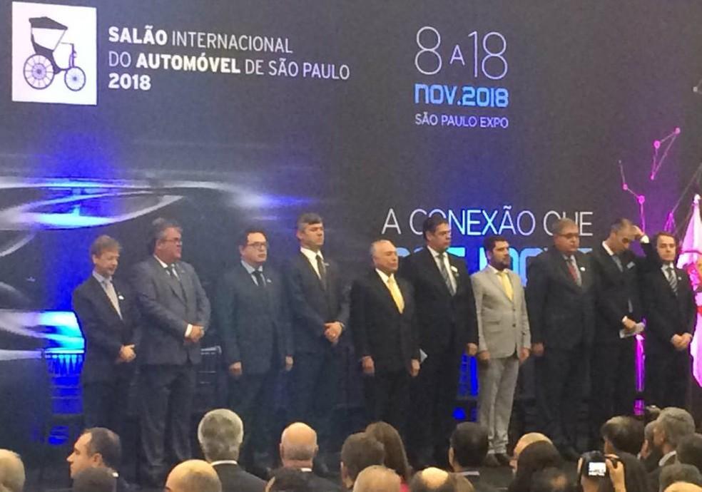 O presidente Michel Temer participa da abertura do Salão Internacional do Automóvel em São Paulo — Foto: Tahiane Stochero/G1