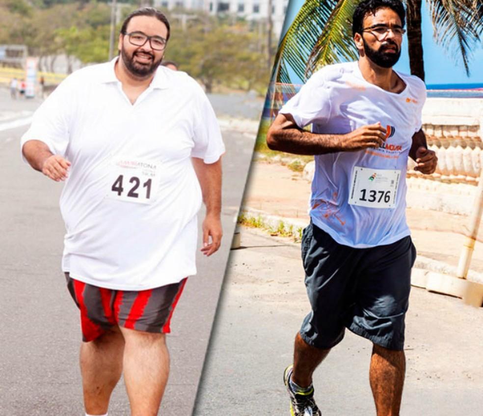 Antes e depois dos 100 kg perdidos (Foto: Acervo pessoal)