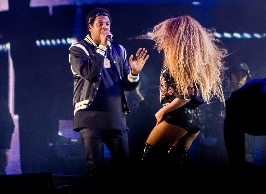 Jay-Z e Beyoncé durante apresentação no Coachella 2018 (Foto: Kyle Grillot/AFP)