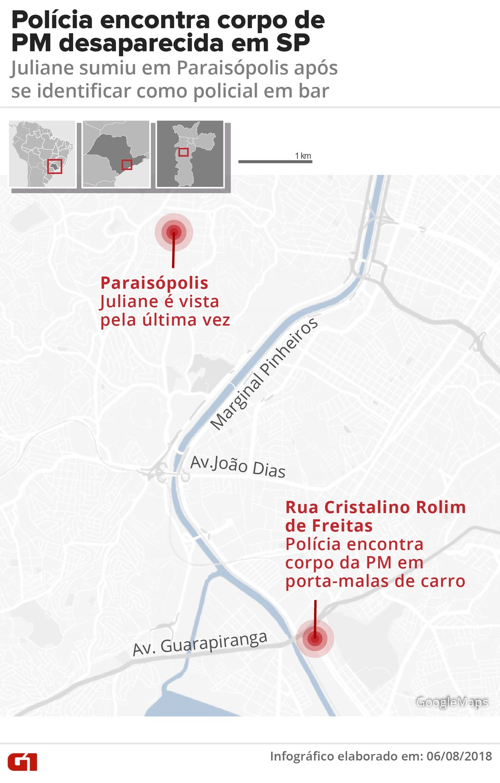 Mapa indica pontos em que PM desapareceu e foi encontrada morta em SP (Foto: Roberta Jaworski/G1)