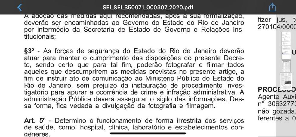 Decreto assinado pelo governador Wilson Witzel autoriza forças de segurança a fotografar e filmar quem desobedecer às restrições contra o coronavírus — Foto: Reprodução