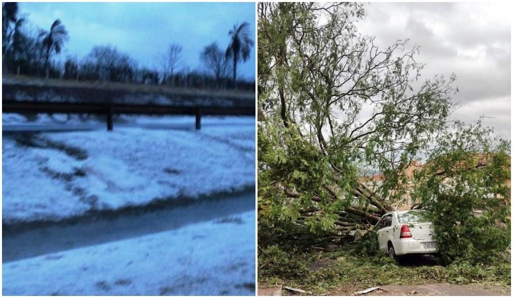 Estragos e granizo após temporal em Pirassununga — Foto: Redes Sociais