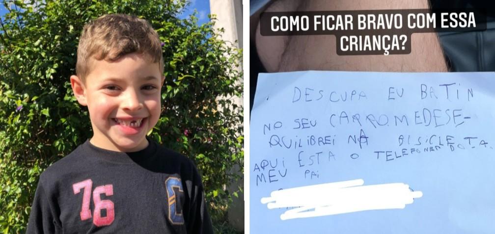 Menino de 7 anos que caiu de bicicleta, riscou veículo e deixou bilhete pedindo desculpas ao dono — Foto: Arquivo pessoal/Marcel Weiss Hoffmann