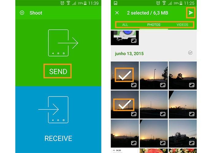 Envie o arquivo pelo primeiro celular e selecione os itens (Foto: Reprodução/Barbara Mannara)