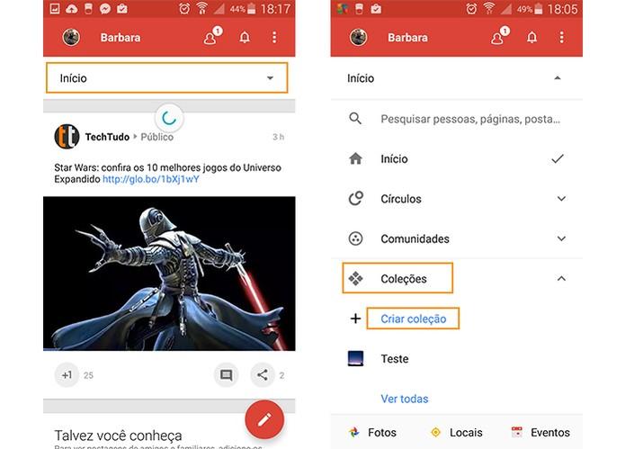 Acesse o menu do Google+ no Android e inicie uma Coleção (Foto: Reprodução/Barbara Mannara)