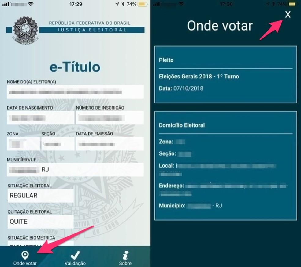Ação para verificar seu local de votação no app E-Título (Foto: Reprodução/Marvin Costa)