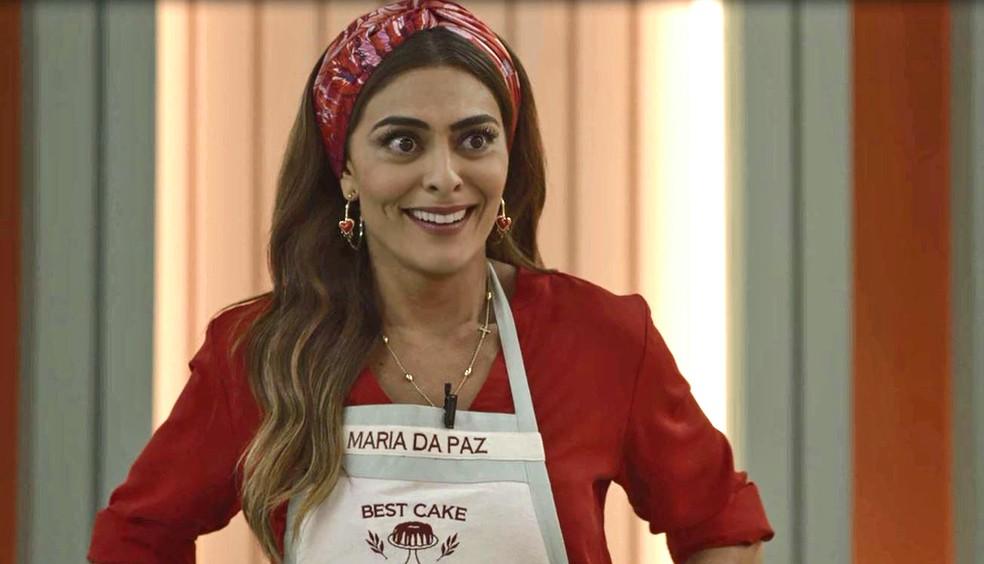 Maria da Paz (Juliana Paes) fica radiante com notícia de que vai para próxima fase do Best Cake, em 'A Dona do Pedaço' — Foto: Globo
