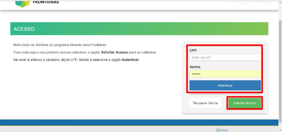 Nas opções marcadas, registre login e senha pelo CPF e acesse o programa Idiomas sem Fronteiras (Foto: Reprodução/Daniel Ribeiro)