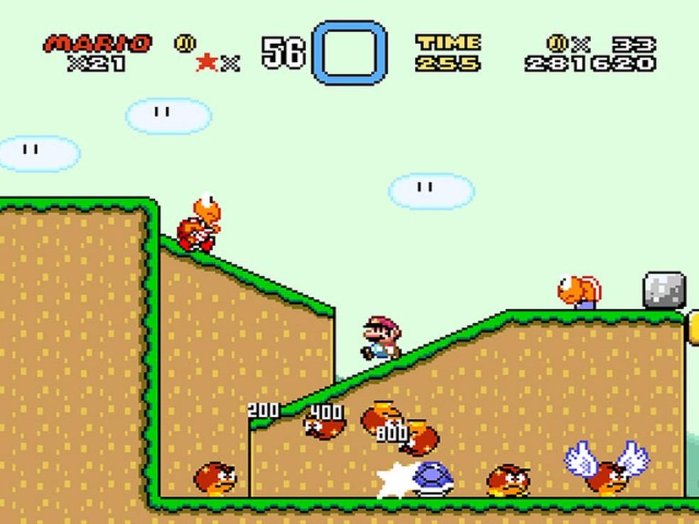 Cena de 'Super Mario World', lançado em 1990 para Super Nintendo  (Foto: Reprodução)