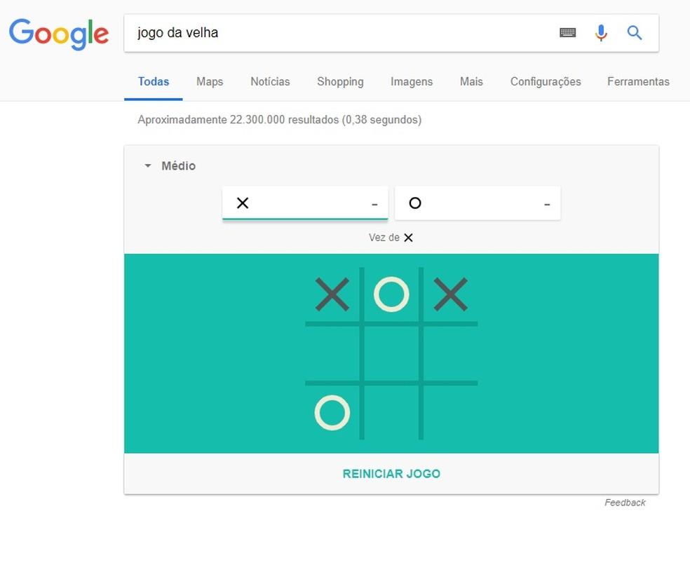 Jogo da Velha escondido nas buscas do Google permite jogar contra a máquina (Foto: Reprodução/Rodrigo Fernandes)
