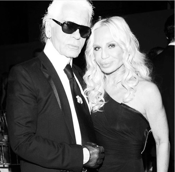 Karl Lagerfeld e Donatella Versace (Foto: reprodução/instagram)