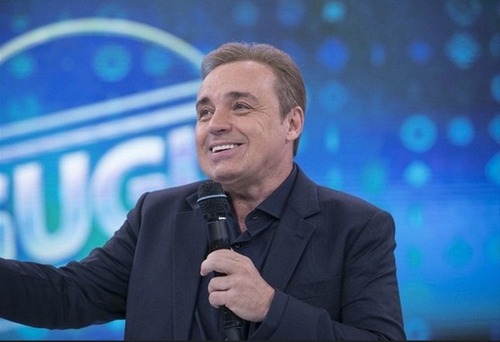 Gugu Liberato apresenta o 'Programa do Gugu' durante gravação em novembro de 2017 — Foto:  Edu Moraes/Record TV/Divulgação