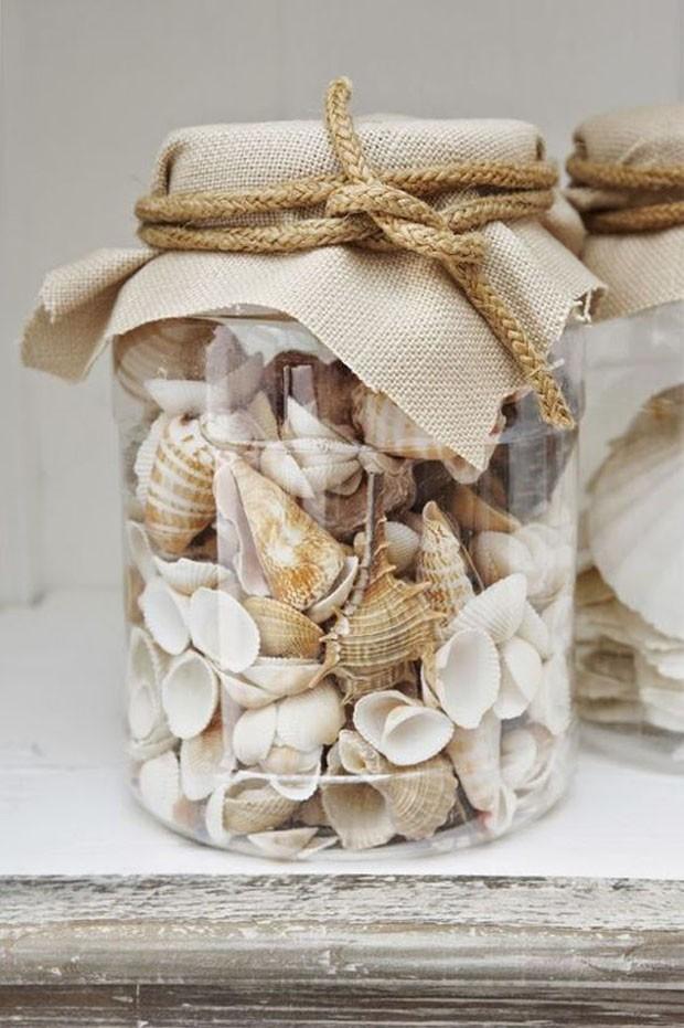 Potes de vidro: Guarde conchas do mar (Foto: Pinterest/Reprodução)