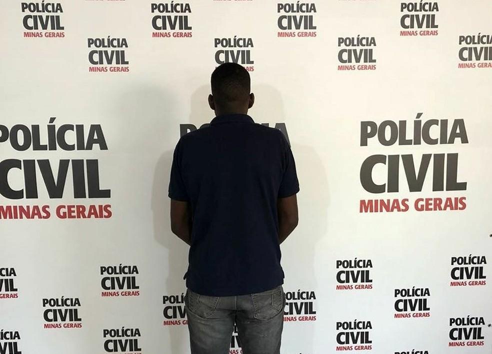 -  Suspeito foi apresentado pela Polícia Civil em Juiz de Fora  Foto: Polícia Civil/Divulgação