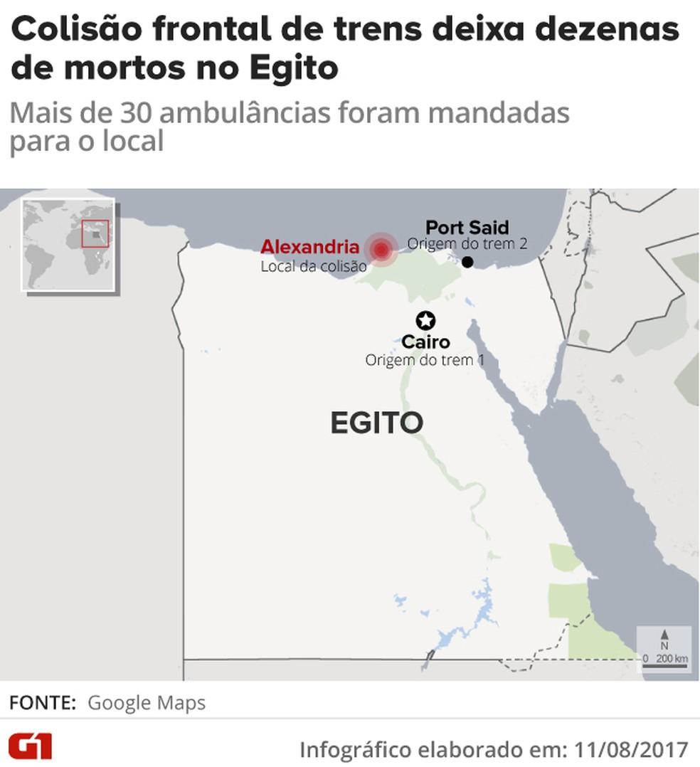Mapa acidente de trem no Egito (Foto: Arte/G1)