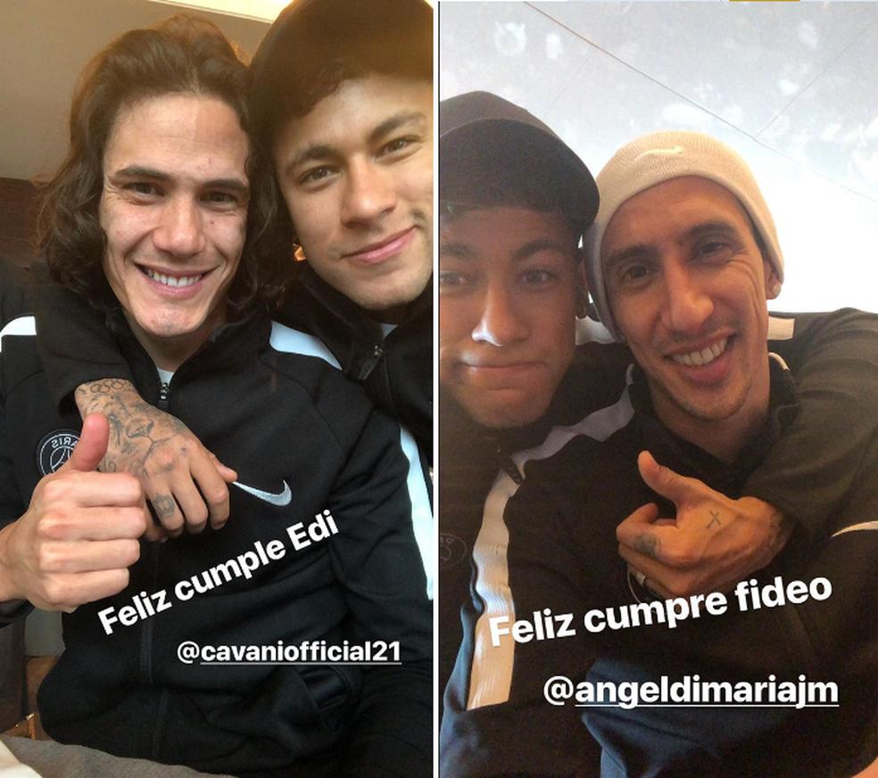 Neymar aniversário Cavani e Di María (Foto: Reprodução / Instagram)
