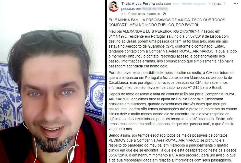 Filha de mecânico brasileiro achado inconsciente no Marrocos fez post na web — Foto: Facebook/Reprodução