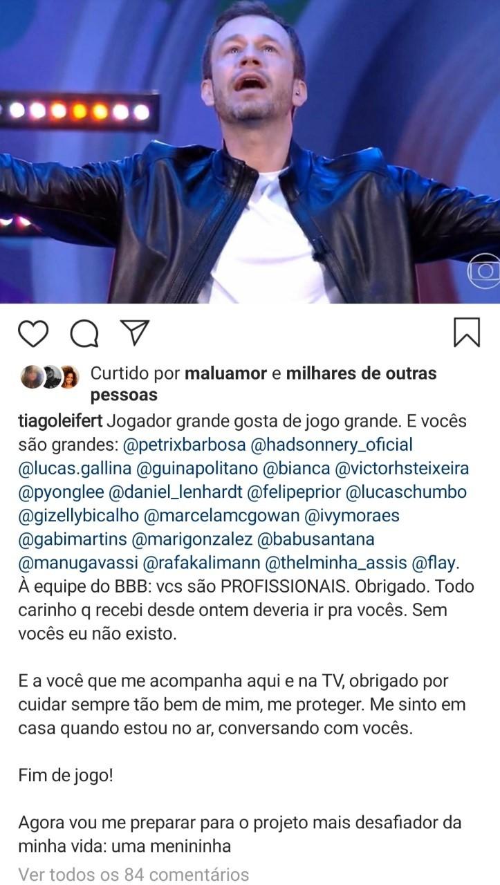 Tiago Leifert agradece aos fãs e fala da primeira filha (Foto: Reprodução Instagram)