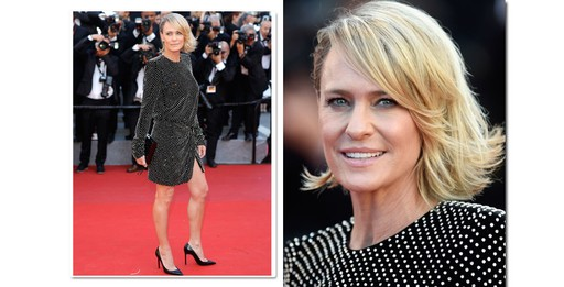 Robin Wright, 51 anos, de Saint Laurent by Anthony Vaccarello