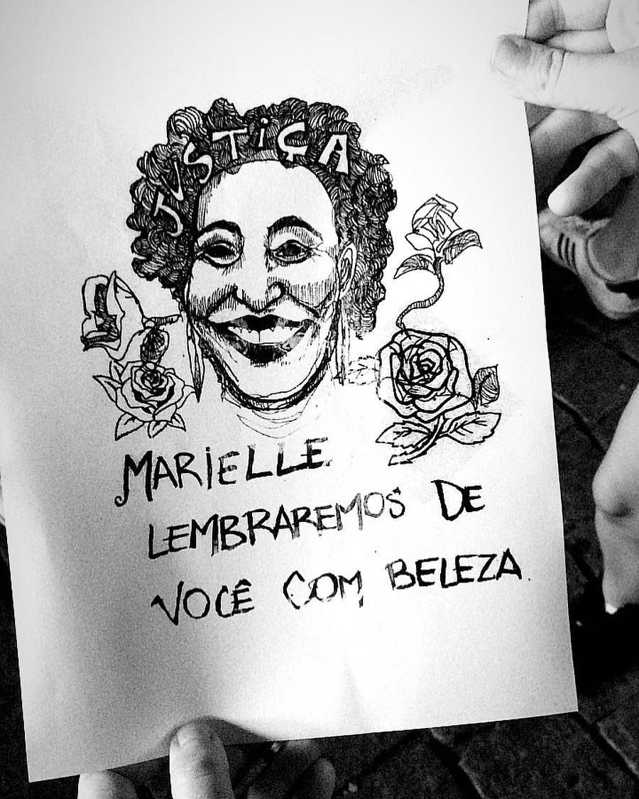 Ilustração de participante de ato no vão livre do MASP, em São Paulo (Foto: Reprodução/Instagram)