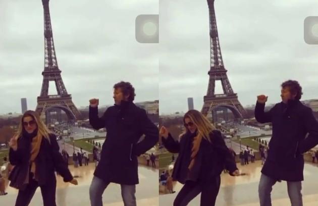 Ingrid Guimarães, a Silvana de 'Bom sucesso', curte férias em Paris com o marido, René Machado, e a filha, Clara. Ela postou um vídeo no Instagram dançando em frente à Torre Eiffel (Foto: Reprodução)