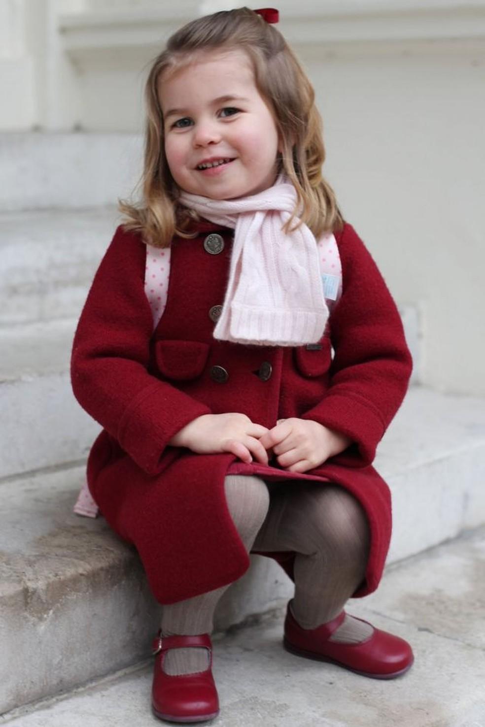 Duquesa de Cambridge — Foto: Charlotte, retratada em seu primeiro dia no berçário, em 2018, frequentou Willcocks, assim como Louis