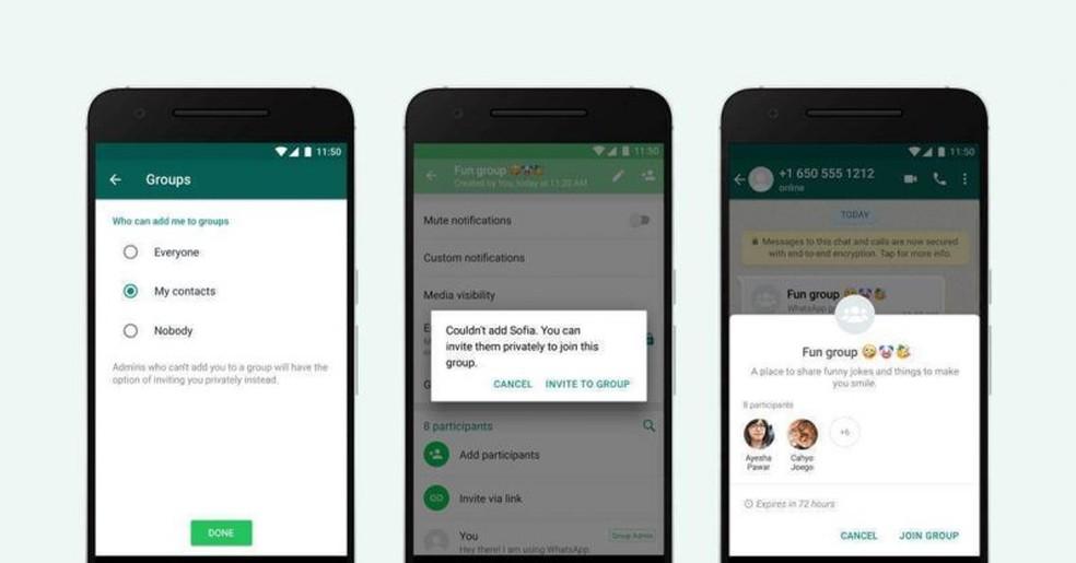 Opção de privacidade para convites de grupos — Foto: Divulgação/WhatsApp