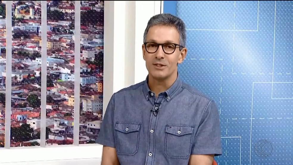 Romeu Zema concede entrevista ao MG1 — Foto: Reprodução/TV Integração
