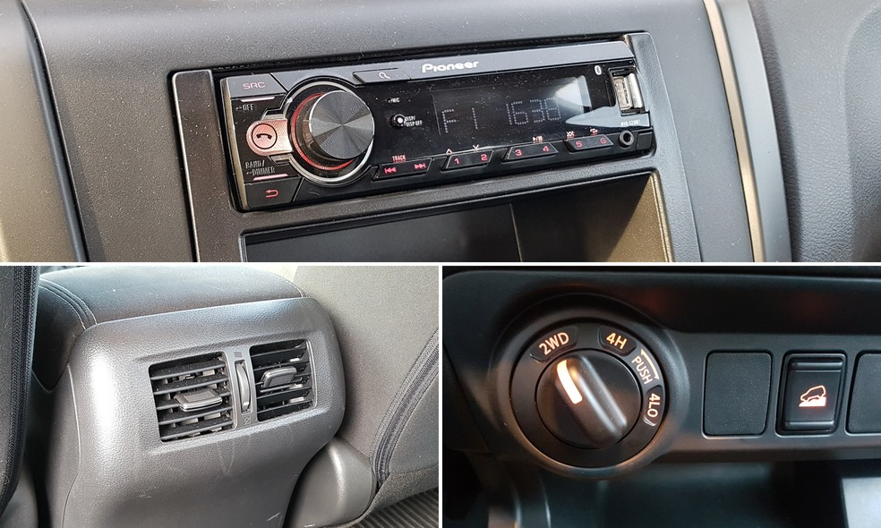 Radio is optional on Frontier S, but pickup truck offers ventilation outlets in the rear seat and 4x4 traction with descent assistance - Photo: Guilherme Fontana / G1