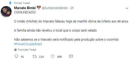Comunicado de equipe de Marcelo Bimbi (Foto: Reprodução/Twitter)