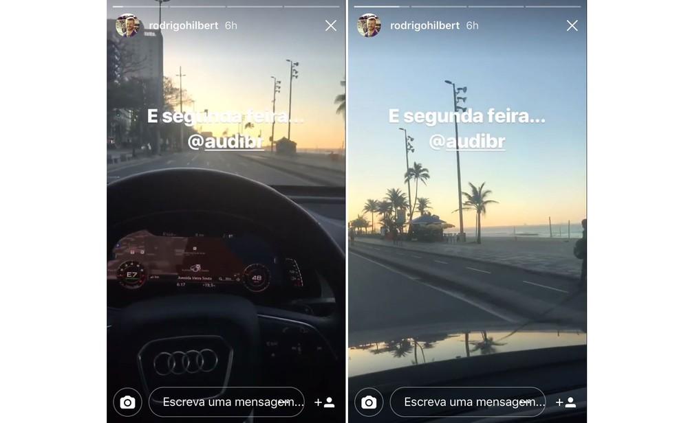 Rodrigo Hilbert postou vídeo dirigindo e filmando na orla do Rio (Foto: Reprodução/Instagram/Rodrigo Hilbert)