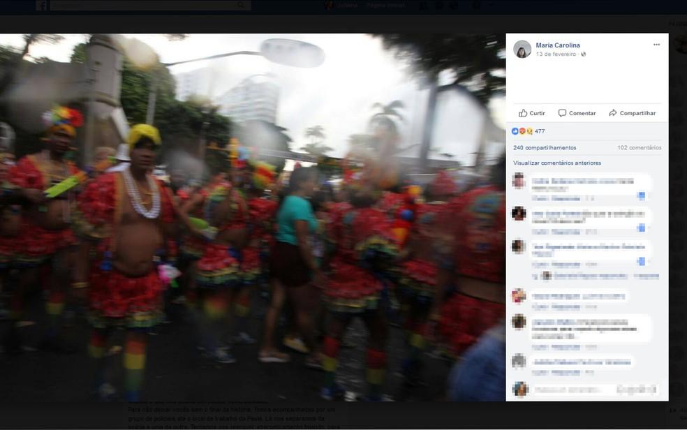 Mulheres disseram ter sido encurraladas por foliões do bloco As Muquiranas (Foto: Reprodução/ Facebook)
