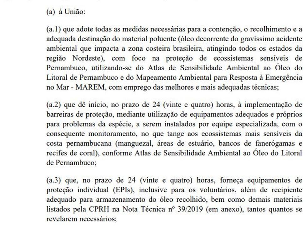 Justiça Federal determinou que governo federal adote medidas sobre óleo em praias de Pernambuco, sob pena de multa diária de R$ 50 mil — Foto: Reprodução/Justiça Federal