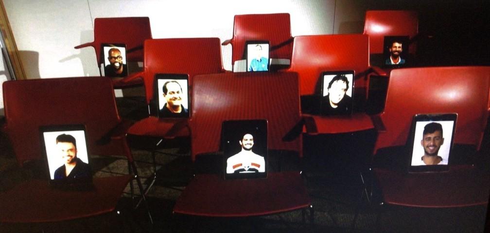 Pato, Camacho, Muricy, Casagrande e comentaristas participam de entrevista coletiva virtual com Fernando Diniz — Foto: Reprodução
