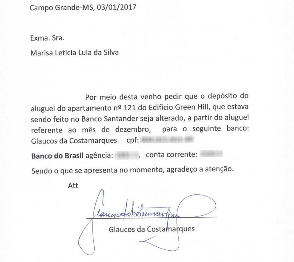 Defesa de Lula apresenta carta de Glaucos Costamarques para a Dona Marisa (Foto: Reprodução)