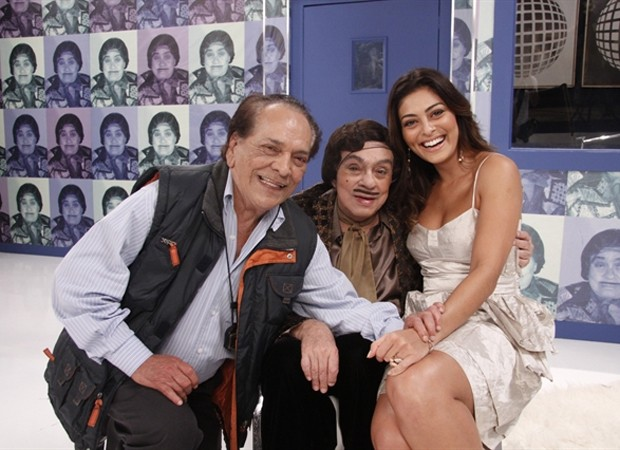 Caracterizado como Da Júlia, Lúcio Mauro grava quadro do Zorra Total ao lado de Chico Anysio e Juliana Paes (Foto: Isac Luz/TV Globo)