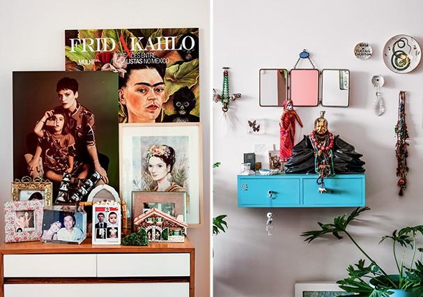 Ensaio com Pina, feito para o Dia das Mães da Glamour, em 2017, virou quadro. Espelhos, pratos e colares compõem uma das paredes no hall de entrada do apartamento (Foto: Romulo Fialdini)
