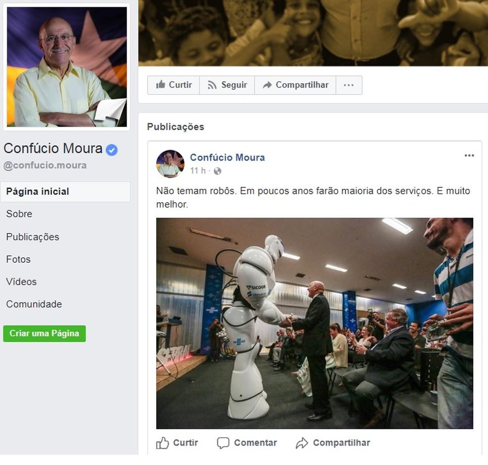 -  Postagem de Confúcio Moura foi feito nesta segunda, 13  Foto: Reprodução