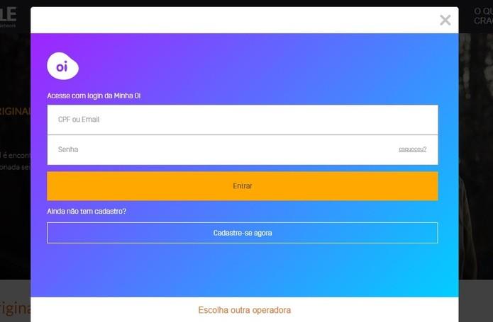 Utilize dados de acesso ao site da operadora para acessar o Crackle (Foto: Reprodução/Rodrigo Fernandes)