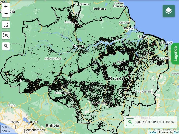 Mapa de alertas de desmatamento e degradação na Amazônia no acumulado de 2020 (Foto: Reprodução/Inpe)